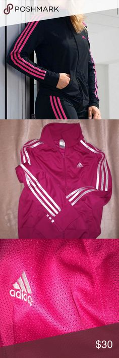 Adidas Dark Pink & White Zip Up Sweatshirt Great condition. Perfect for working out or lounging. adidas Tops Sweatshirts & Hoodies