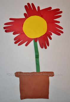 Kids Flower Craft Made from Cut Handprints - - Pinned by @PediaStaff – Please Visit ht.ly/63sNtfor all our pediatric therapy pins