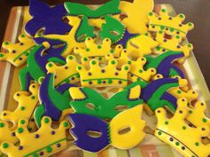 Mardi Gras decorated sugar cookies by SouthernSweetSpot on Etsy