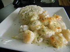 Mi cocina hoy...: Filete de pescado gratinado con camarones!