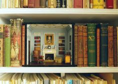 Miniature Period Room Doll House on a Bookshelf | Content in a Cottage
