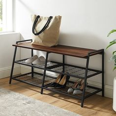 Ideal for an entryway, mudroom or bedroom, the Forest Gate Metal & Wood Entry Bench adds an industrial accent to your decor. The stylish top is suitable for plants or pillows and the 2 lower stacked wire racks can hold shoes, books and more. Entryway Bench Storage, Entry Bench, Entryway Decor, Storage Benches, Industrial Interior Design, Industrial Interiors, Home Interior Design, Industrial Bedroom Decor, Industrial Bench
