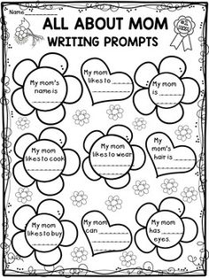 This is a FREE fun coloring activity for Mother's Day. The students will read each sentence about their mom and then color the flowers by the given code. Fun Writing Activities, Color Activities, Kindergarten Activities, Classroom Activities, Activity Books, Preschool Themes, All About Mom, About Me Blog, 1st Grade Crafts