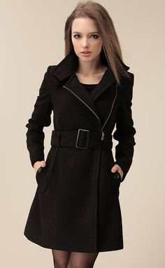 Black Wide Lapel Belt Oblique Zipper Wool-blend Coat