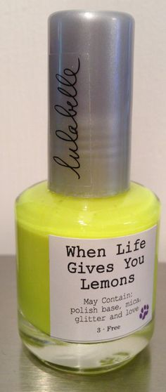 When Life Gives You Lemons is a jaw-dropping bright yellow that is the newest addition to the Neon Collection, by Lulabelle! A beautiful lemon yellow color, without top coat is a stunning matte yellow and with the addition of top coat, becomes nicely glazed! A great under-color for glittery toppers!