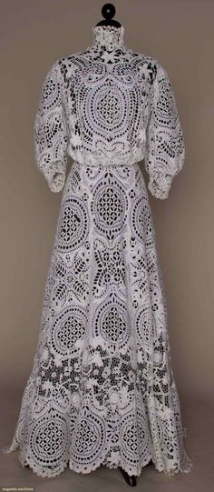 1905 eyelet and lace teagown