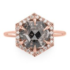 Absolute dream! 1.56 Carat Speckled Hexagon Diamond Engagement Ring, Recycled 14k Rose Gold