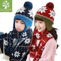 daf4bf6fe40 Kocotree Children Winter Hat Scarf Gloves Set Snowflake Pattern Knit Kids  Beanie Caps Neck Warmers Mittens