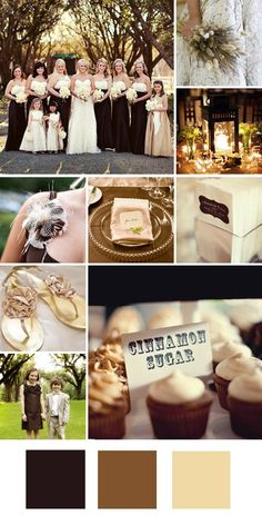 Chocolate + Brown + Cream    Good for: A formal winter wedding.    Tips for pulling it off: Give these neutral colors a dressier feel by incorporating glittery metallic shades like gold and bronze.