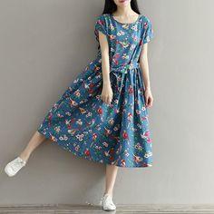 Women's Chic Summer Linen Cotton Loose Maxi Dress Long Flax Dress Blue Fashion – Linen Dresses For Women Plus Size Vintage, Linen Dresses, Blue Dresses, Dress Robes, Chemise Dress, Shirt Dress, Shenzhen, Baby Boys, Sundress Pattern