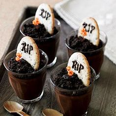 Tombstone Cookies - These cookies are designed as accessories for our Dark Chocolate Graveyard Pots de Crème, but they also make a nice Halloween snack.