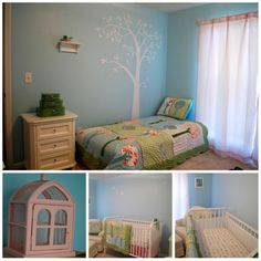 Layout.  Crib opposite wall with chair in corner