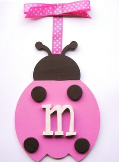 Ladybug wooden wall letters Pink/brown