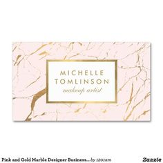 Pink and Gold Marble Designer Business Card for Makeup Artists and Beauty Consultants:
