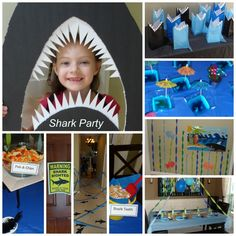 """Shark Party, Jell-O shark pools, fish n' chips, pin the fin on the shark, shark gift bags- it was a great party.  My kids made tons of construction paper fish to decorate the walls and windows for a more """"aquatic"""" look."""