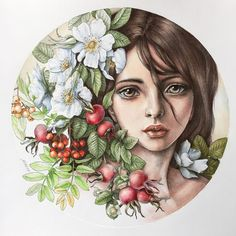 Too happy to have enough time to complete the third. I really liked the girl's face. I decided to give her a melancholy… Colored Pencil Artwork, Color Pencil Art, Pencil Art Drawings, Art Sketches, Nocturne, Enchanted Forest Coloring Book, Princess Coloring, Face Sketch, Arte Pop