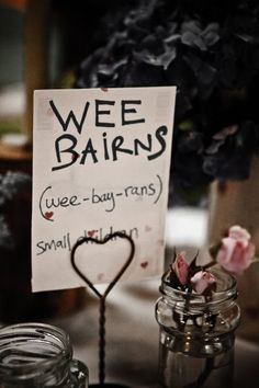 Table names - Scottish words and phrases. Great for a laugh. This was my youngest daughter's nick name for many years. (giggle).