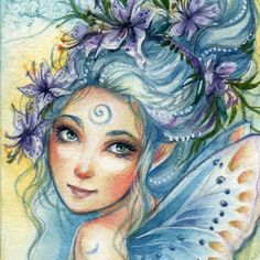"This is a collection of best ACEO cards I have completed over the years ( not all of them , of course!:) ""ACEO"" stands for ""Art Cards, Editions and Originals"".These cards have one main rule - they. Fantasy Paintings, Fantasy Art, Fairy Pictures, Guache, Mermaids And Mermen, Fairy Art, Art Sketchbook, Portrait Art, Mythical Creatures"