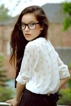 Girl Glasses Long Black Hair