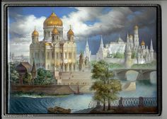"""Monashov Vladimir """"The Cathedral Of The Christ The Saviour"""" - box, Fedoskino lacquer painting."""