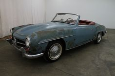 1961 Mercedes-Benz 190SL, blue with red interior, sitting for many years, excellent original car for restoration and the motor turns by hand. For $37,500  If you have any additional questions Please call 310-975-0272