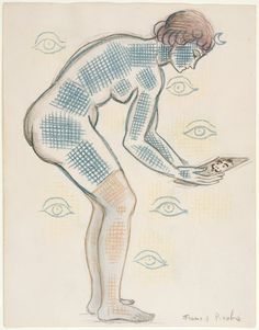Francis Picabia - Woman Looking at a Photograph, 1930. Colored pencil, ink and graphite on paper.