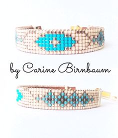 Loom beaded bracelet, Beaded bracelet, Leather bracelet, Single Wrap Leather Bracelet, Mix Beaded, handmade, bracelet by CarineBirnbaum on Etsy