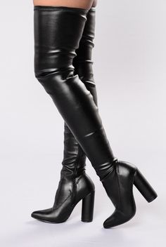 - Available in Black - Thigh High Boot - Pointed Toe - Round Stacked Heel - Inner Side Zipper - 4 1/2 Inch Heel