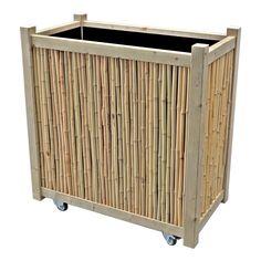 Hoge verrijdbare bamboe houten plantenbak