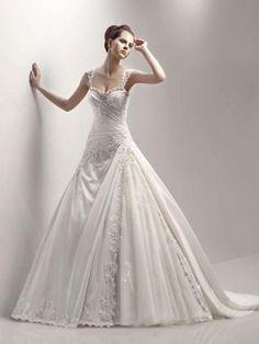 2012 Style Ball Gown Straps Beading  Sleeveless Chapel Train Taffeta Wedding Dresses For Brides