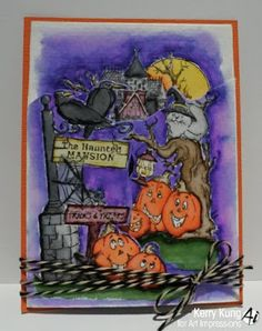 Art Impressions Rubber Stamps: Haunted House TF (Sku#4688) Ai TryFolds ... handmade card.  Halloween, pumpkins, jack-o-lanterns, crows, ravens, black cat.