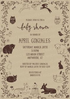 Woodland Animals Neutral Baby Shower Invitation on Kraft paper by Kimbellished (deer, bear, fox, rabbit, owl, bird)