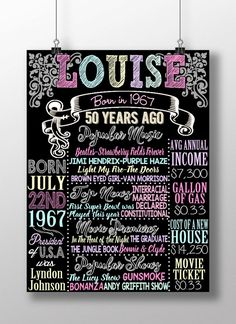 50 years old back in 1967 unique 50th bday by CustomPrintablesNY