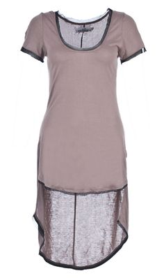 SUBMERGE TOP FEATHER TAUPE This re-invented tee shirt style is made from a soft rayon blend, and edged in bias-cut chiffon at the neck and hems. Slim fit through the bust and waist, with a long tail at the back for a rock and roll twist.