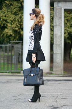 Shop this look on Kaleidoscope (shirt, skirt, purse, pumps)  http://kalei.do/WZfXZ3zCvhSUR5A8
