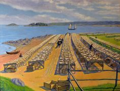 Une des toiles d'Eugène Klimoff (1901-1990), un peintre d'origine lettonne ayant fuit l'URSS. Il a réalisé plusieurs tableaux et lithographies de la région gaspésienne dans les années 1950.
