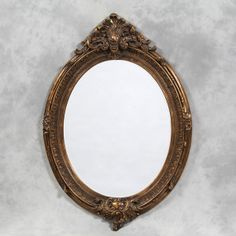 Large Antique Gold Oval Framed 'Charles' Mirror