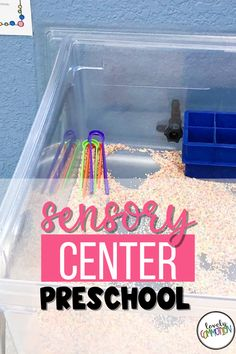 The Sensory Center in a preschool classroom is a place for children to use their sense of touch to explore, as well as learn about capacity and use fine motor muscles. See what is inside my Sensory Center. Preschool Centers, Preschool Classroom, Kindergarten, Play Based Learning, Learning Centers, Classroom Organization, Organization Ideas, Sensory Tools, Dramatic Play
