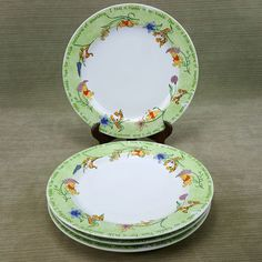 Disney Winnie Pooh Tigger 11\  Stoneware Dinner Plate Set Smakarel Rumbly Tumbly & Disney China Winnie the Pooh Dinnerware 4 Complete Place Settings ...