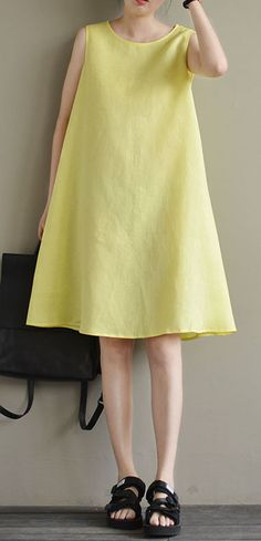 new yellow cute elegant linen sundress plus size casual dresses  dress