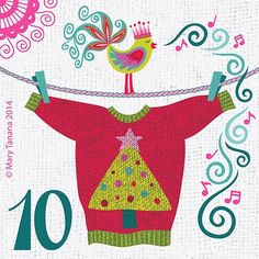 """.·:*¨*:·. Whimsy Advent .·:*¨*:·. Mary Tanana~Licensed Artist (@groovity) on Instagram: """"#adventchallenge2014 Day 10, #Christmas #sweater AKA #jumper ;)"""""""