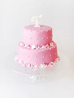 Pink + Flowers Cake