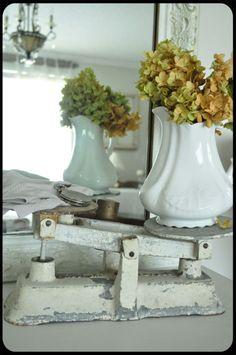 vintage scale + ironstone + flowers