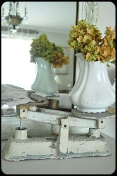 vintage scale + ironstone + flowers