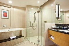 Separate bath tub and shower in guest rooms