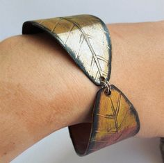 Recycled Leaf Cuff Bracelet Vinyl Record Eco by ReplayStudio