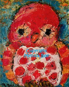 Art - Pink Owl oil painting by Melissa Bee