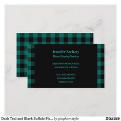 Shop Dark Teal and Black Buffalo Plaid Business Card created by ginghamstyle. Card Printing, Dark Teal, Buffalo Plaid, Clean House, Business Cards, Prints, Black, Lipsense Business Cards, Black People
