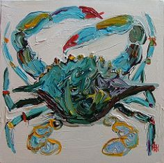 Last month, I posted about friend and artist Nancy B. Westfall , whose iconic crab paintings have graced the pages of Domino and House Beaut. Crab Art, Fish Art, Crab Painting, Diy Painting, Painting Inspiration, Art Inspo, Coastal Art, Pictures To Paint, Beach Art