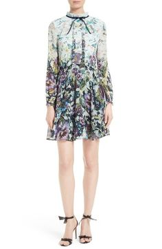 Free shipping and returns on Ted Baker London Meelia Floral Print Chiffon Dress at Nordstrom.com. A sweet spin on the color-block trend, this retro-chic chiffon dress starts with a ruffled, bow-bedecked collar and melts into a flouncy deep blue skirt, both covered with flowers in full bloom.